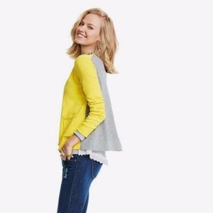 CAbi 3010 Belle Yellow Gray Cardigan Lace Trim